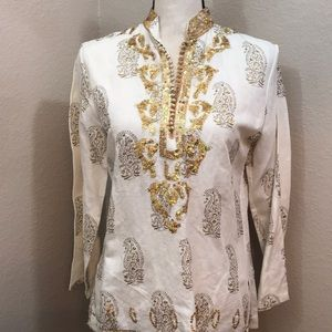 Carole Little NWT sequin top again details Holiday
